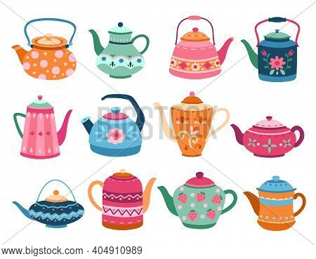 Cute Teapots. Kitchen Tools, Cartoon Teapot Or Kettle Decorative Ceramic. Householding Elements, Iso