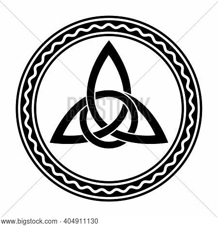 Triquetra With Extra Twist, A Celtic Knot, In A Circle Frame With Wavy Line. Intertwined Triangular