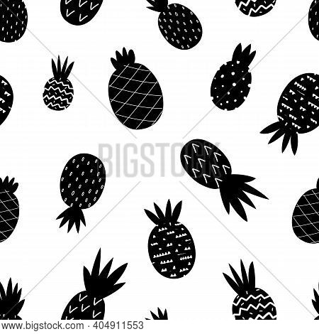 Black Pineapple Pattern. Exotic Pineapples Seamless Texture. Doodle Tropical Fruits Scandinavian, Ch