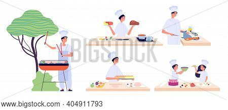 Man Cooking. Culinary Characters, Bbq Chef. People And Children Eat, Food Preparation Workshop. Picn