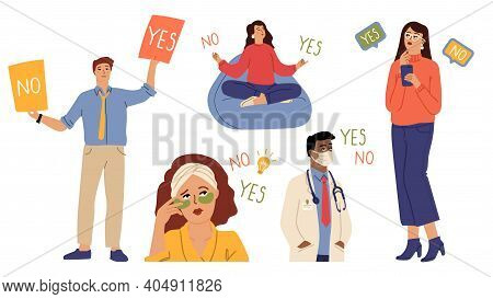 People Choose Yes Or No. Diverse Characters, Doctor Manager Beauty Woman. Accept Or Reject, Consent