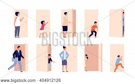 Person And Door. Men Open Doors, Business People Closed And Opened Entry. Cartoon Man Woman Pass, Ki