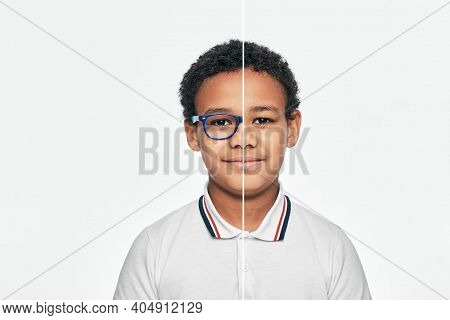 African American Boy With Eyeglasses And Without Glasses. Choose Contact Lenses Or Eyeglasses For Ch