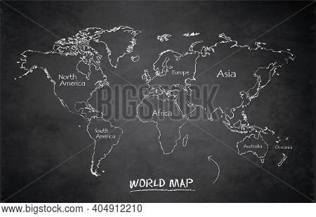 World Continents Map, Administrative Division, Separates Continent And Names, Design Card Blackboard