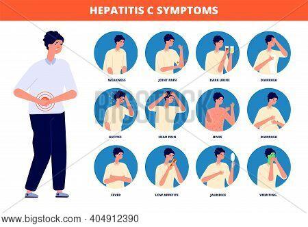 Hepatitis C Symptoms. Cirrhosis Treatment, Liver Cancer Medicine Disease. Patient Awareness Brochure