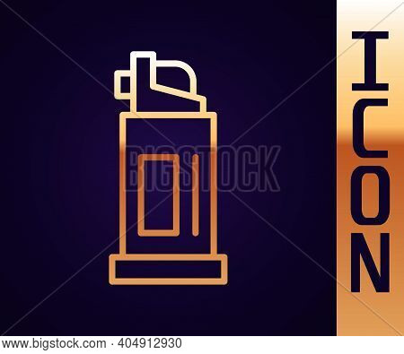 Gold Line Pepper Spray Icon Isolated On Black Background. Oc Gas. Capsicum Self Defense Aerosol. Vec