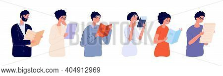 Clever People. Intelligent Guy, Flat Man Woman Wear Glasses. Happy Person Holding Book Documents, Ut