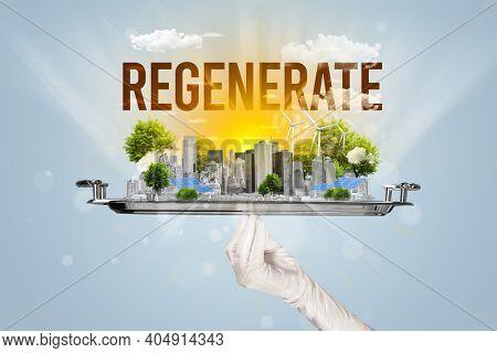 Waiter serving eco city with REGENERATE inscription, renewabke energy concept