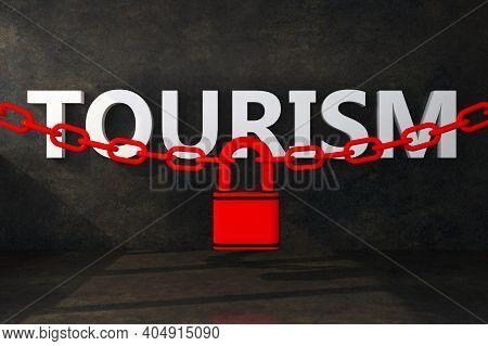 Word Tourism Closure Padlock Concept. 3d Rendering