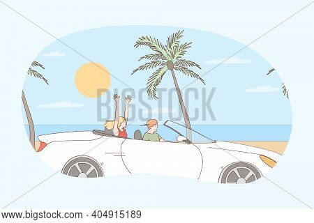 Driving During Vacations Concept. Young Happy Couple Cartoon Characters Sitting In Car And Driving A