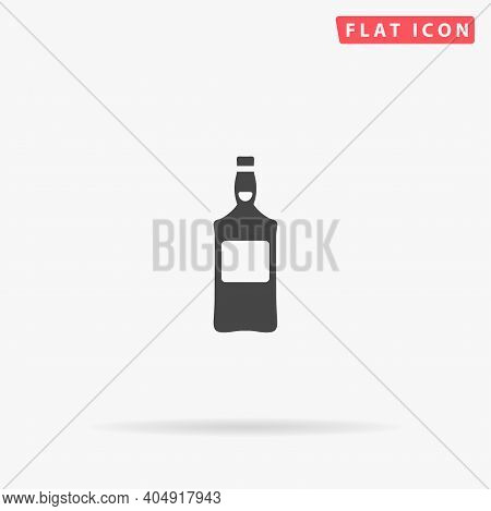 Bottle Of Whisky Flat Vector Icon. Hand Drawn Style Design Illustrations.