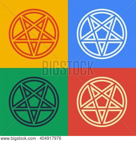 Pop Art Line Pentagram In A Circle Icon Isolated On Color Background. Magic Occult Star Symbol. Vect