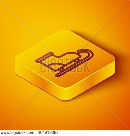 Isometric Line Figure Skates Icon Isolated On Orange Background. Ice Skate Shoes Icon. Sport Boots W