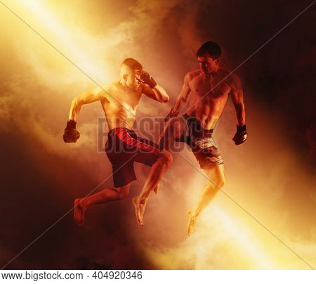 MMA boxers fighters fight in fights without rules on red smoke background