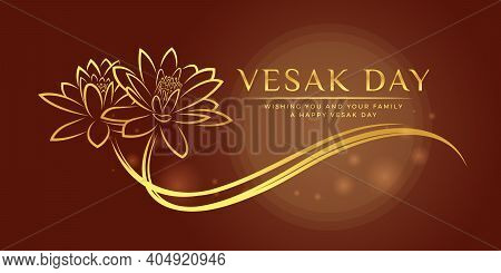 Vesak Day Banner With Gold Abstract Line Drawing Two Lotus Flowers Sign On Circle Moon Light And Bro