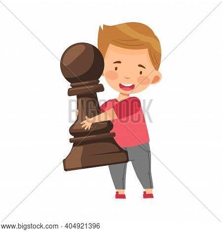 Little Boy Holding Giant Black Pawn As Chess Piece Or Chessman Vector Illustration
