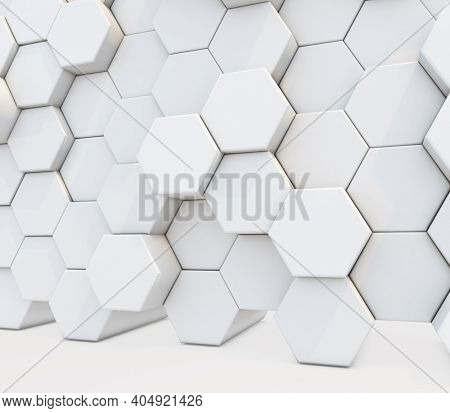 3D render of an abstract background with a wall of extruding hexagons