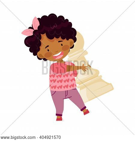 Little African American Girl Holding Giant White Pawn As Chess Piece Or Chessman Vector Illustration
