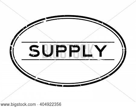 Grunge Black Supply Word Oval Rubber Seal Stamp On White Background
