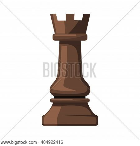 Black Rook As Chess Piece Or Chessman Vector Illustration