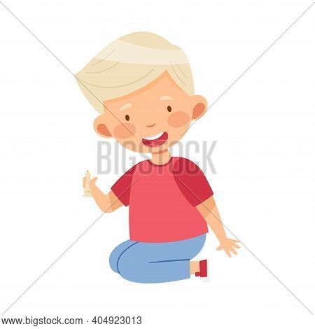 Blond Boy Holding Chessman Or Chess Piece With Hand Vector Illustration