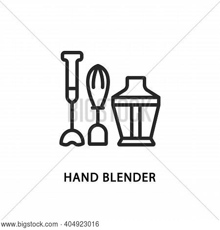 Hand Blender And Mixer Flat Line Icon. Vector Illustration Kitchen Appliances.