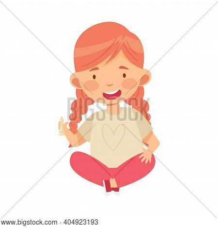 Redhead Girl Holding Chessman Or Chess Piece With Hand Vector Illustration