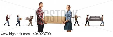 Young man and woman carrying a box and people carrying household items in the back isolated on white background