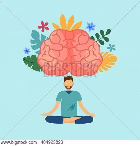 Man Doing Meditation With Powerful Brain. Mind Power. Brain Meditate. Mindfulness. Mental Health.
