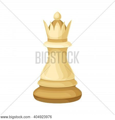 White Queen As Chess Piece Or Chessman Vector Illustration