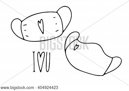 Doodle Medical Fase Mask With Heart Print. Outline Mask Isolated On White Background. Hand-drawn Per