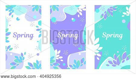 Vector Design Springtime Sale Templates Set, Backgrounds With Copy Space. Spring Background For Soci