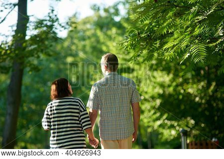Mature Couple Walks In The Park. Back View Man And Woman Holding Hands Outdoors.