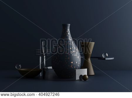 Contemporary Modern Absract Composition In Dark Blue Tones With Terrazzo And Glass. Trendy 3d Redner