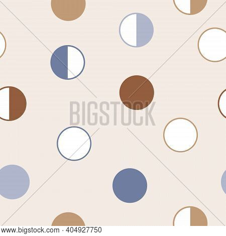 Moon Phases Astronomy Seamless Pattern. Third Quarter, Full Moon, First Quarter, New Moon.