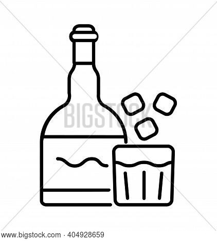 Drink Icon Vector. Bottle Of Whiskey, Vodka, Gin, Brandy Symbol. Drinks Glass Of Ice Water.
