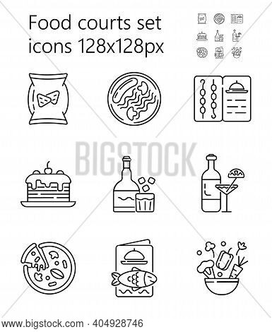Food Court Icon Set Vector. Pizza, Alcohol, Drinks Are Shown. Grill, Fish, Seafood Menu. Snacks, Sal