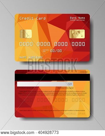 Realistic Credit Card Two Sides Isolated. Detailed Glossy Cards. Credit Debit Card Mockup