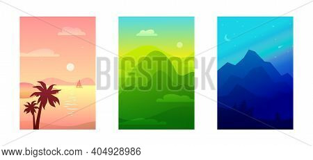 Seaside, Verdant Hills, Mountains, Valley, National Park Gradient Landscape. Vector Vertical Banners