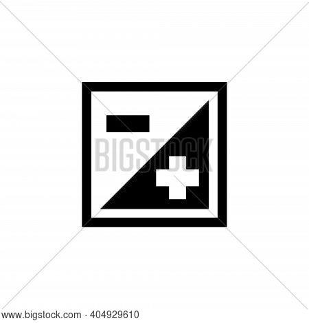 Brightness Plus Minus, Negative Positive. Flat Vector Icon Illustration. Simple Black Symbol On Whit