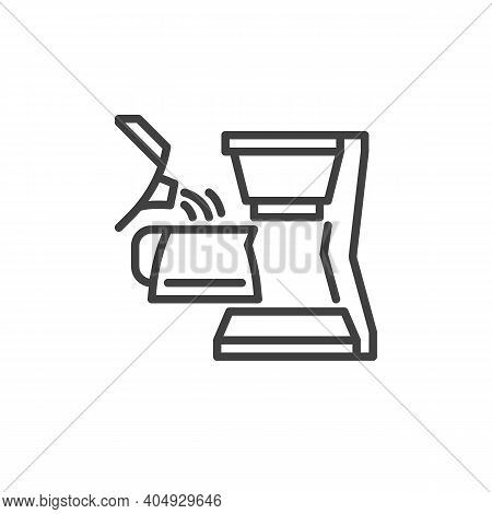 Pouring Water In Coffee Maker Machine Line Icon. Linear Style Sign For Mobile Concept And Web Design
