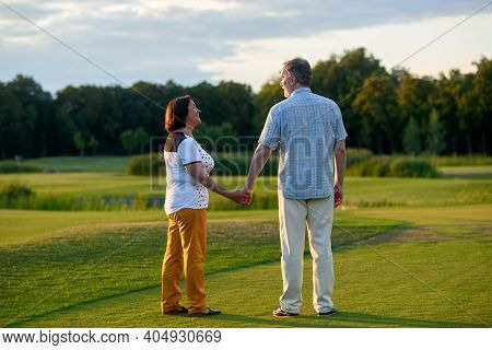 Mature Couple Holding Hands Outdoors. Back View Senior Man And His Wife. Green Field Background.