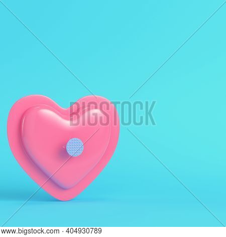 Pink Abstract Heart Shape Pierced By Nail On Bright Blue Background In Pastel Colors. Minimalism Con