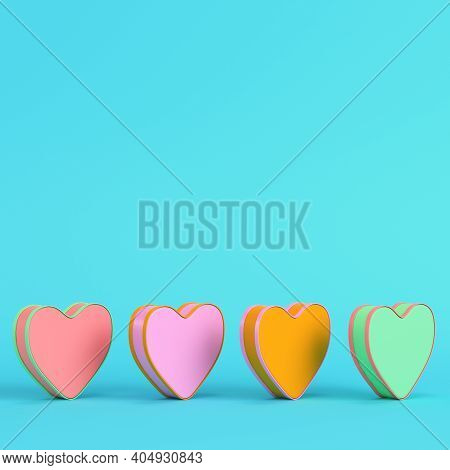 Colorful Abstract Heart Shape On Bright Blue Background In Pastel Colors. Minimalism Concept. 3d Ren