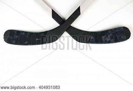 A fragment of a hockey stick hockey on a white background