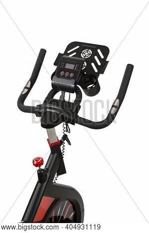 Close-up Of Spinning Bike Isolated On White Background. Healthy Lifestyle. Fitness, Sport, Training