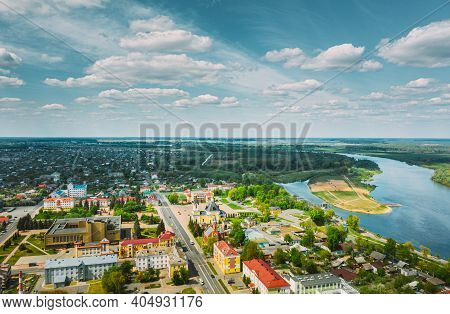 Rechytsa, Belarus. Aerial View Of Residential Houses And Famous Landmarks Of Town - Holy Assumption