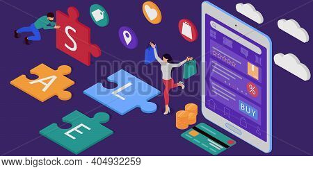 Online Shopping Store With A Tablet. Woman On The Sale. Mobile Payments. Vector Isometric Illustrati
