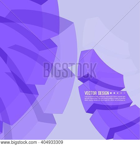 Vector Abstract Background With Purple Transparent Cubic Blocks. Concept New Technology And Dynamic