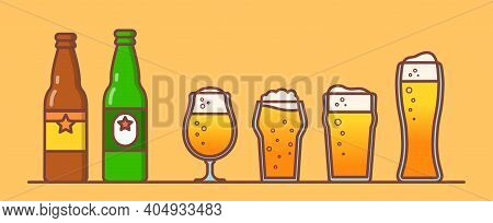 Beer Set, Set For Restaurant And Pub, Icons With Different Beer Mugs, Illustration For Promotion On